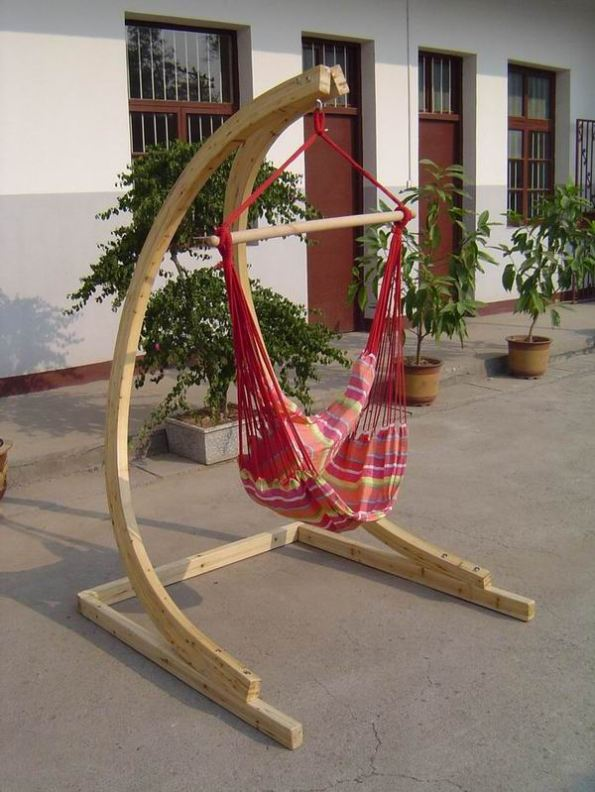 Striking-Wood-DIY-Hammock-Chair-Stand-on-Open-Terrace-with-Planters